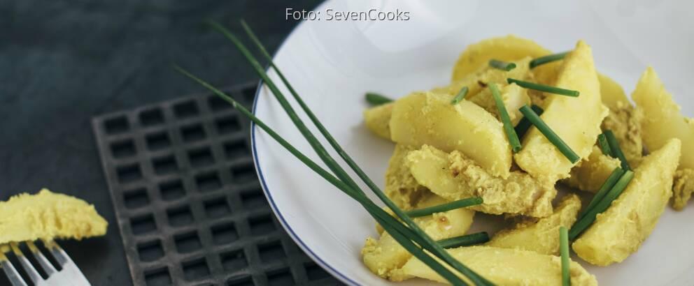Curry Kartoffeln mit Schnittlauch