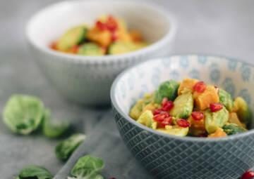 Curry mit Rosenkohl und Süßkartoffel