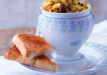 Ei Ersatz beim Frühstück: Rührei