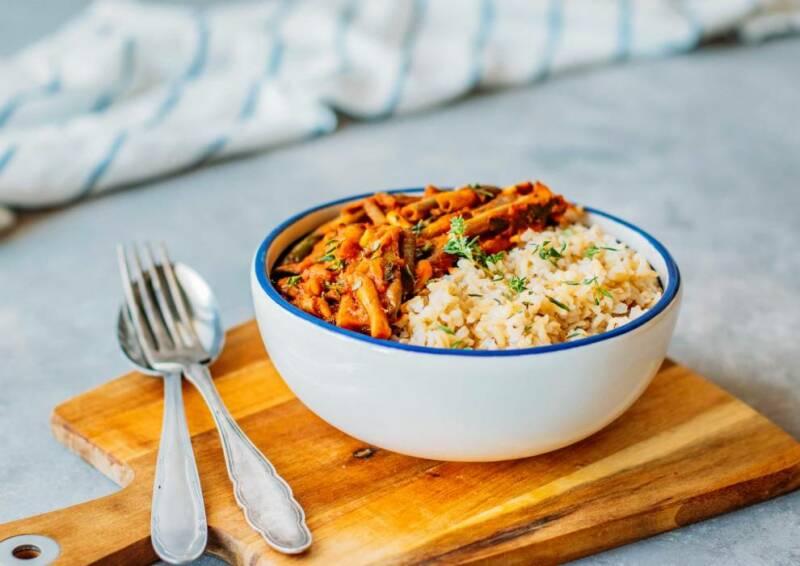 Fasolakia mit Reis