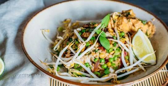 Ein Reisgericht mit asiatischen Aromen durch Limette, Erdnuss und Sprossen. Der Tofu sorgt für die richtige Portion Proteine. In einer Schüssel angerichtet.
