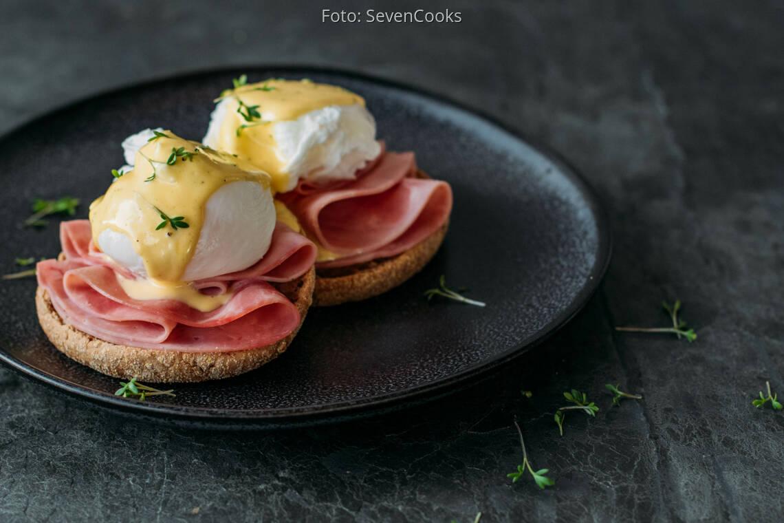 Flexitarisches Rezept: Eggs Benedict mit Schinken 1