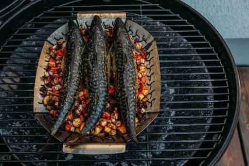 Makrele vom Grill auf Wurzelgemüse