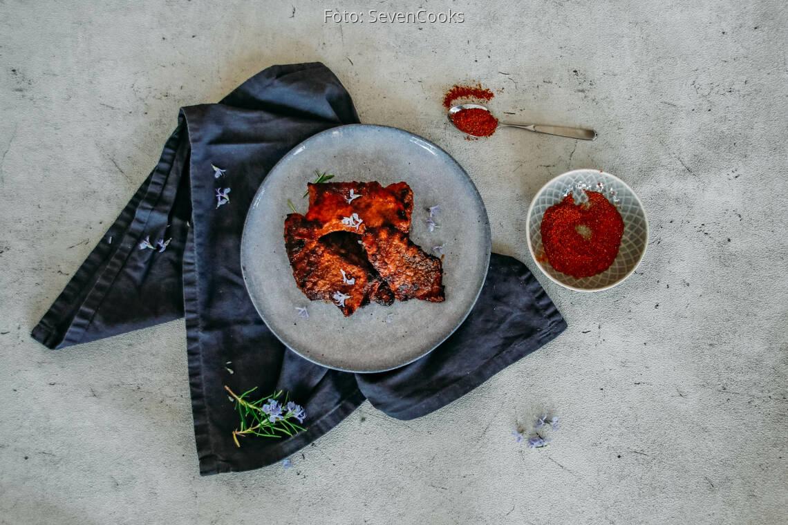 Flexitarisches Rezept: Ochsenfetzen orientalisch mariniert