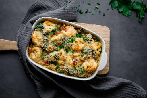 Flexitarisches Rezept: Tortellini-Brokkoli-Auflauf 1