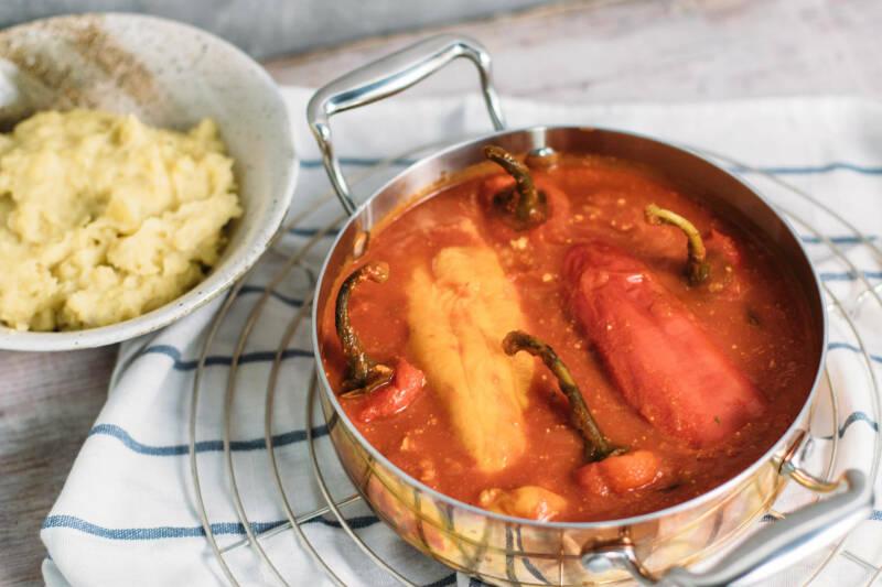 Gefüllte Paprika mit Tofu und Reis