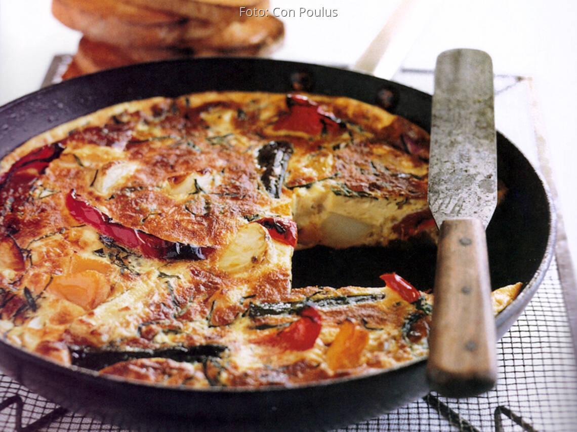 Gemüse Eier Frittata, Omelett aus dem Backofen