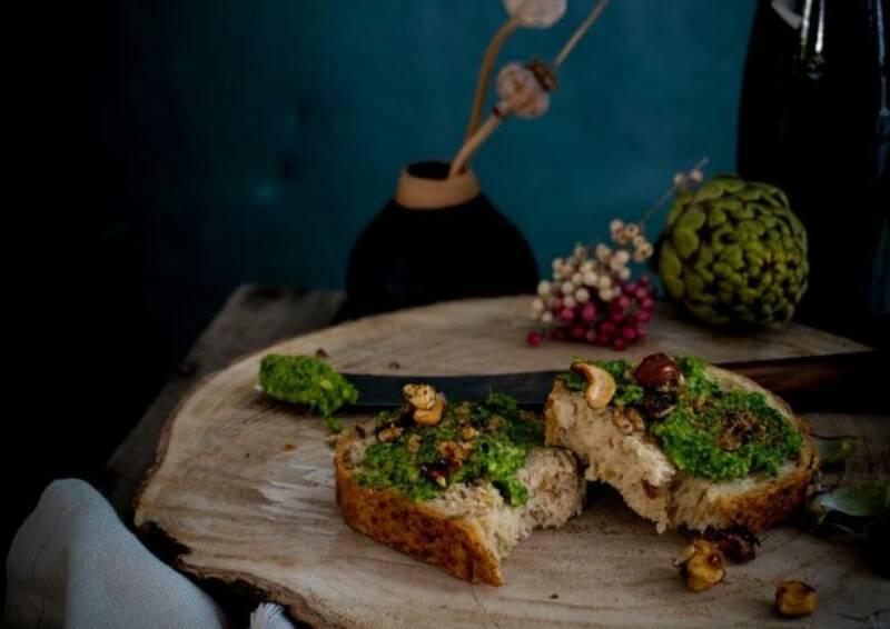 Grünkohl-Pesto als Brotaufstrich.