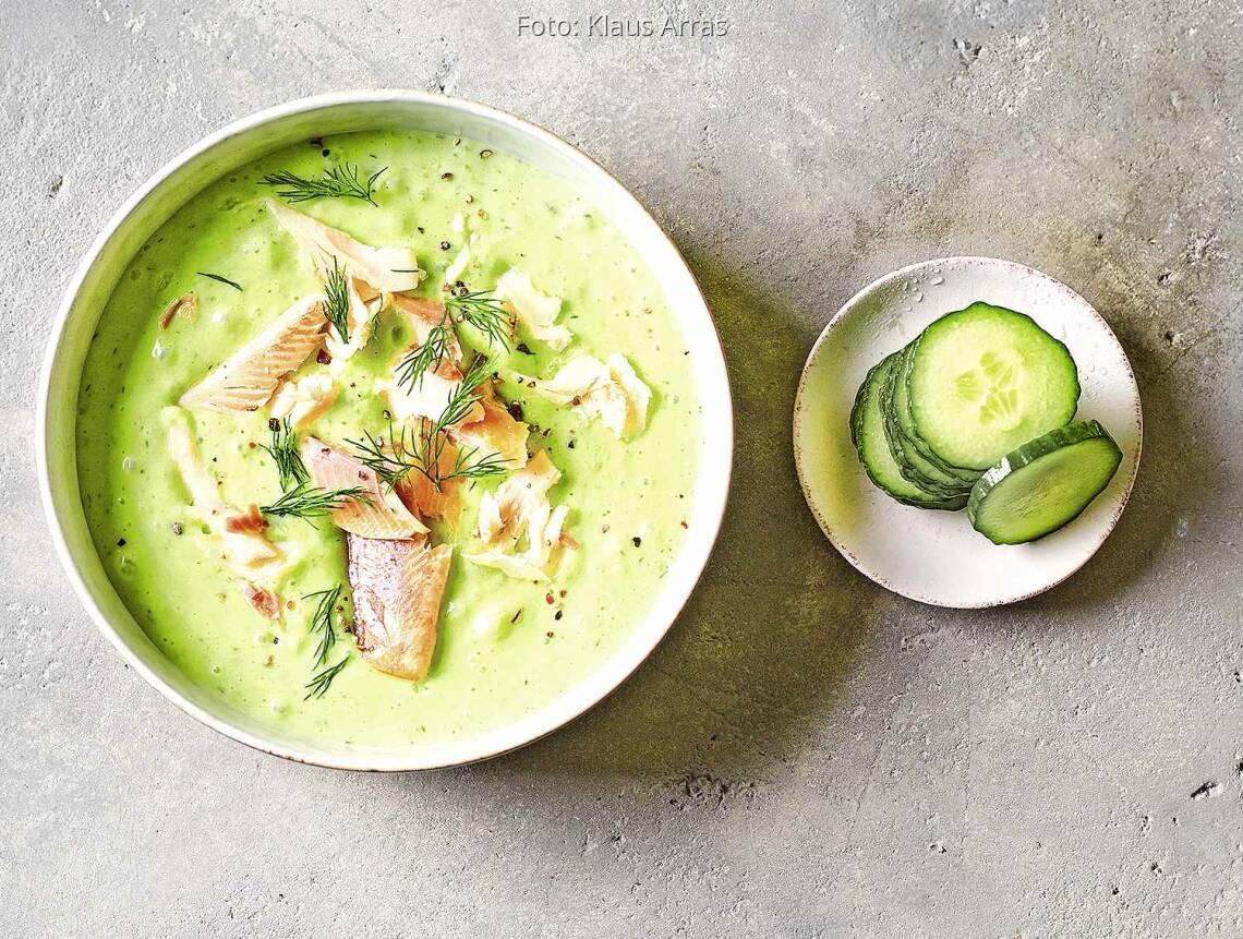Kalte Buttermilch-Gurken-Suppe