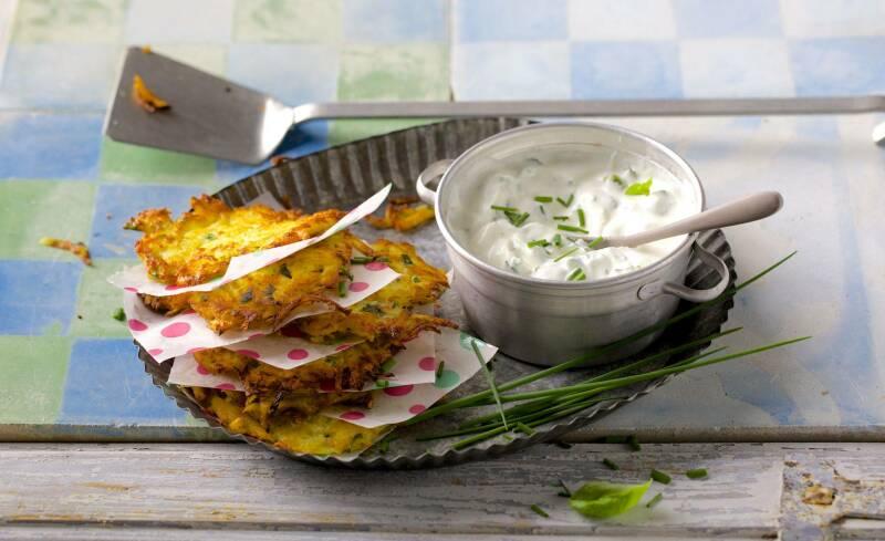 Kartoffelpuffer mit Kräutercreme