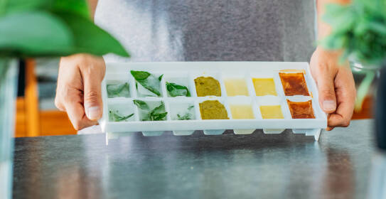 Verschiedene Zutatenreste eingefroren im Eiswürfelbehälter