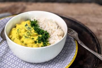 Mandel Zucchini Curry mit Kichererbsen 11