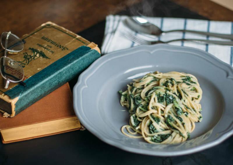 Onepot Pasta mit Spinat