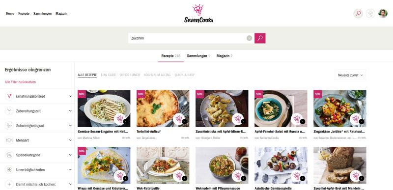Screenshot 2018-08-03 Suche Rezepte, Artikel und mehr SevenCooks