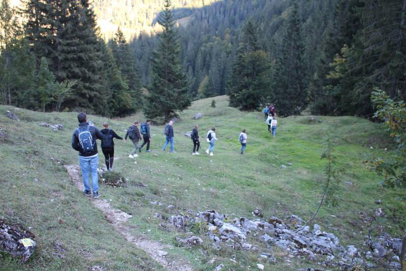 Das SevenCooks Team beim Wandern über eine Wiese.