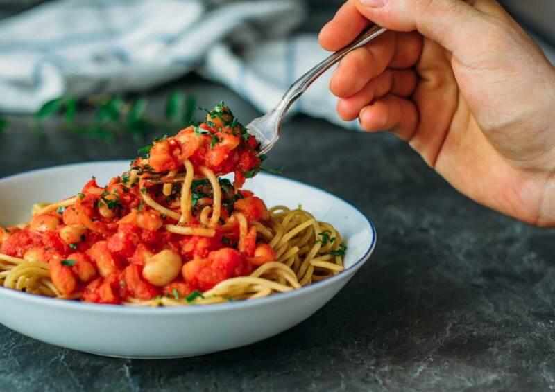 Spaghetti mit weißen Bohnen