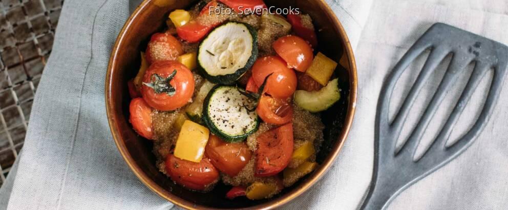Veganes Rezept: Amaranth vom Blech mit Ofengemüse_1