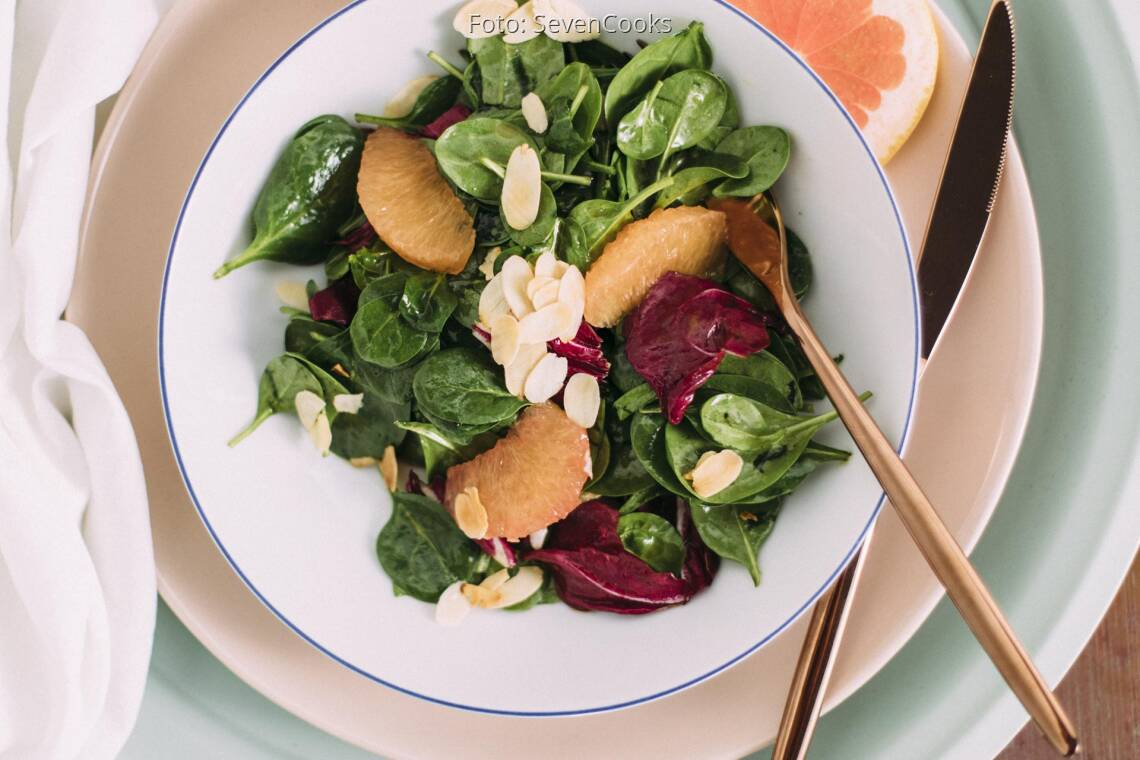 Veganes Rezept: Babyspinat-Salat mit Grapefruit 1