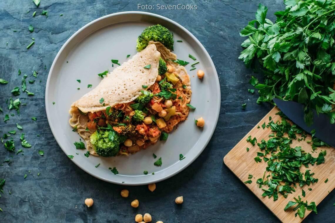Veganes Rezept: Buchweizen-Pfannkuchen mit Gemüsefüllung_1