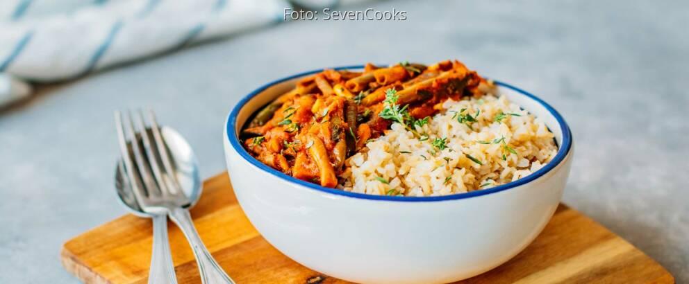 Veganes Rezept: Fasolakia mit Reis 3