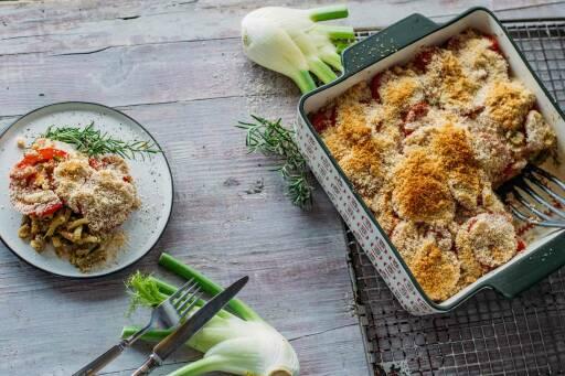 Veganes Rezept: Fenchel-Tomaten-Gratin mit Rosmarin 1