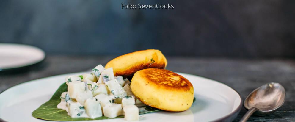 Veganes Rezept: gefüllte Kartoffelküchlein mit Kohlrabiragout 1