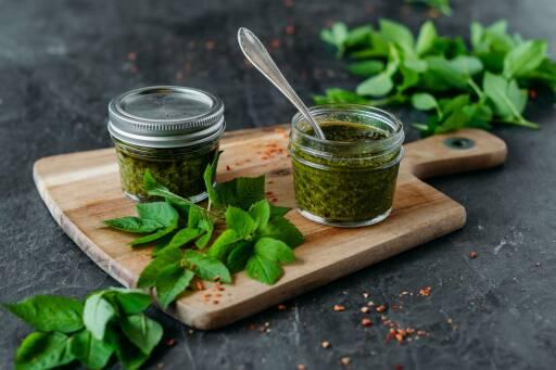 Veganes Rezept: Giersch-Basilikum-Pesto 1