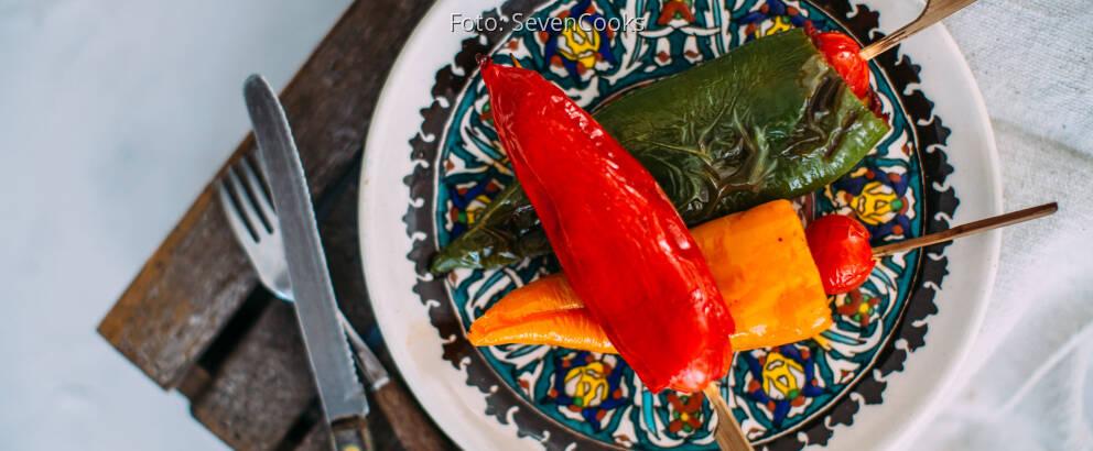 Veganes Rezept: Marinierte Tofu-Paprika-Spieße
