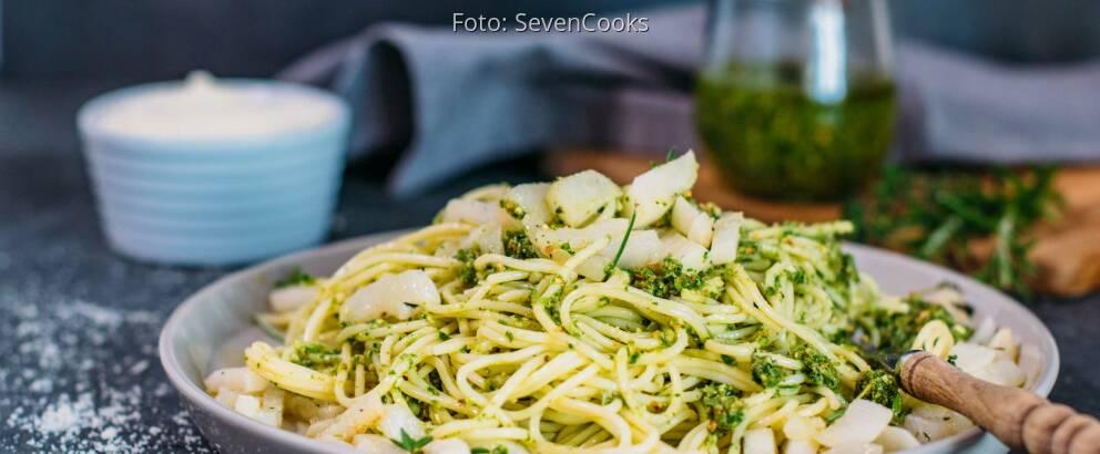Veganes Rezept: Pasta mit Mairübchen-Pesto 2