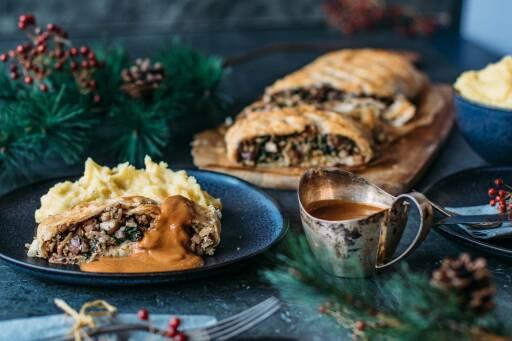 Veganes Rezept: Pilzbraten mit Kartoffelstampf und Soße