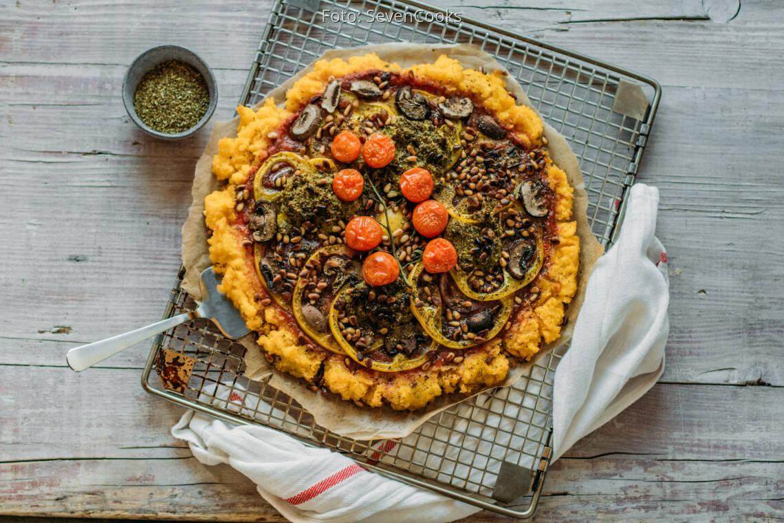 Veganes Rezept: Polent-Pizza