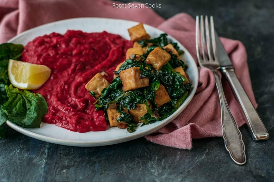Veganes Rezept: Rote-Bete-Kokosstampf mit Tempeh 1