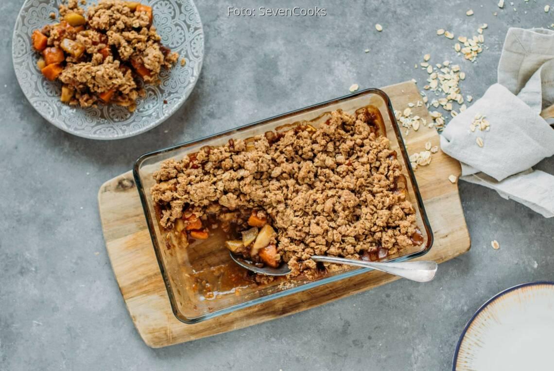 Veganes Rezept: Süßer Kürbis-Apfel-Crumble 1