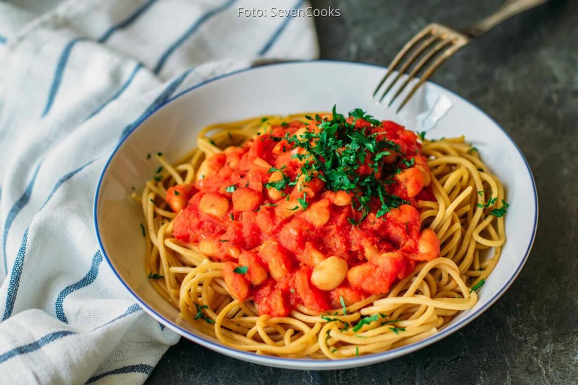 Veganes Rezept: Spaghetti mit weißen Bohnen_1