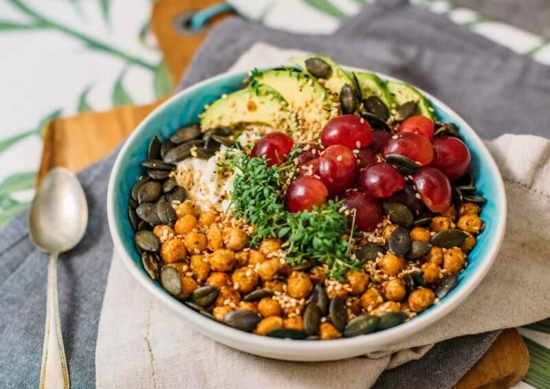 Die High Protein  Frühstücksbowl eignet sich super als sättigendes Frühstück um vegetarisch abzunehmen.