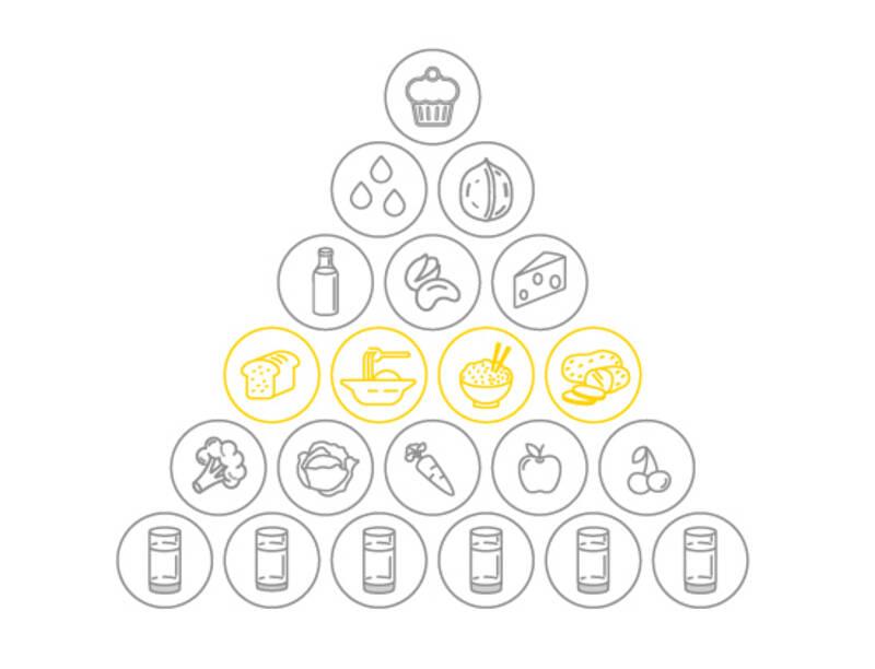 Der Anteil an kohlenhydratreichen Lebensmitteln in der Ernährungspyramide von SevenCooks - 4 Portionen