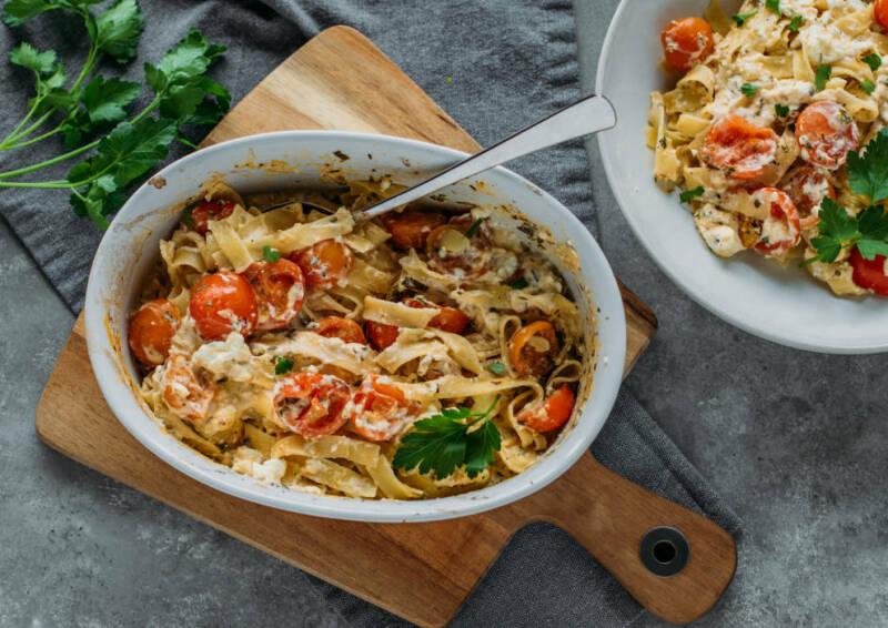 vegetarisches rezept baked feta pasta