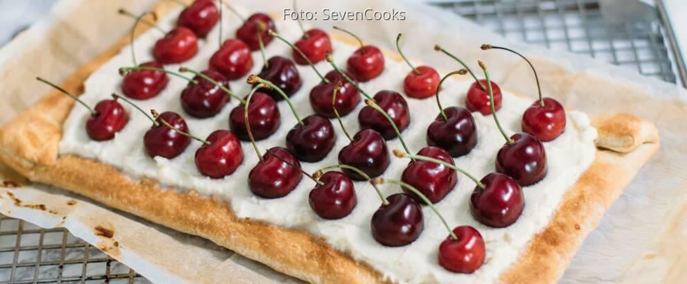 Vegetarisches Rezept: Blätterteig-Tarte mit frischen Kirschen_1