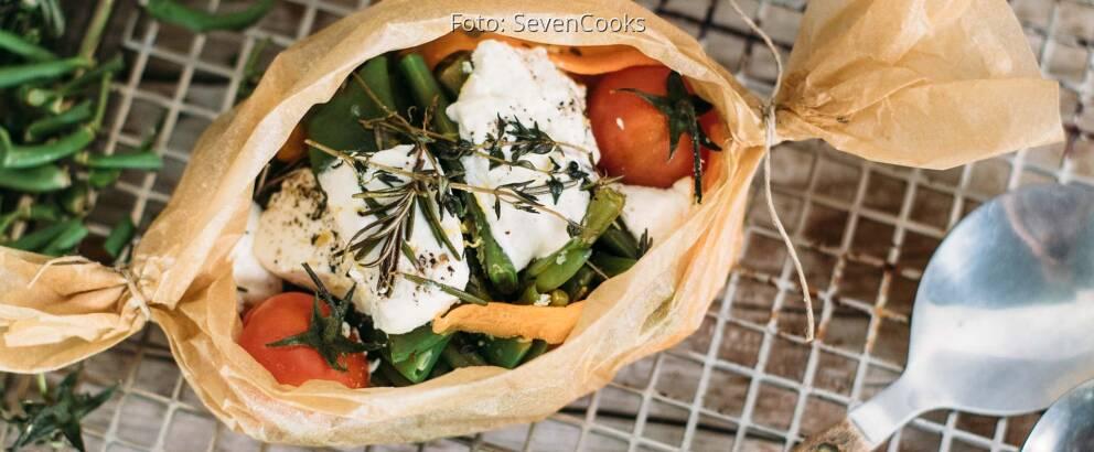 Vegetarisches Rezept: Bohnen-Papilotte mit Ziegenkäse_1