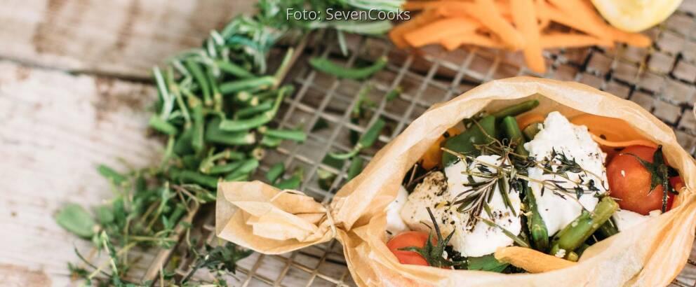 Vegetarisches Rezept: Bohnen-Papilotte mit Ziegenkäse_2