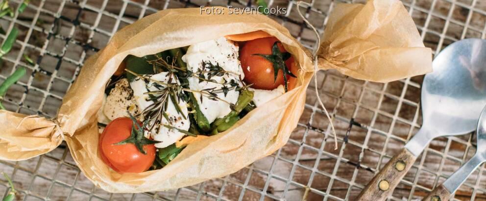 Vegetarisches Rezept: Bohnen-Papilotte mit Ziegenkäse_3