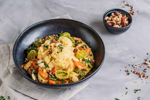 Vegetarisches Rezept: Buntes Lauch-Karotten-Gemüse mit Kartoffelpüree 1