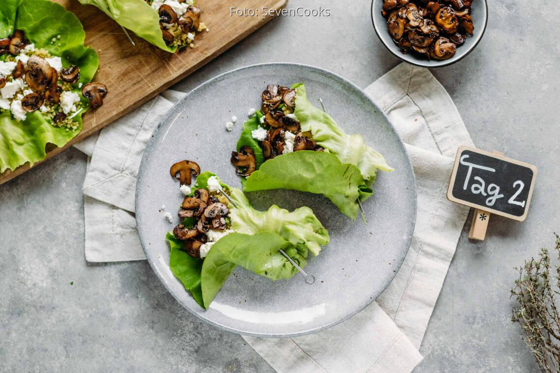 Vegetarisches Rezept: Buntes Meal-Prep 2: Salatrollen mit Couscous und Feta_1_Schild