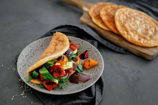Vegetarisches Rezept: Cloudbread Sandwich mit Grillgemüse 1