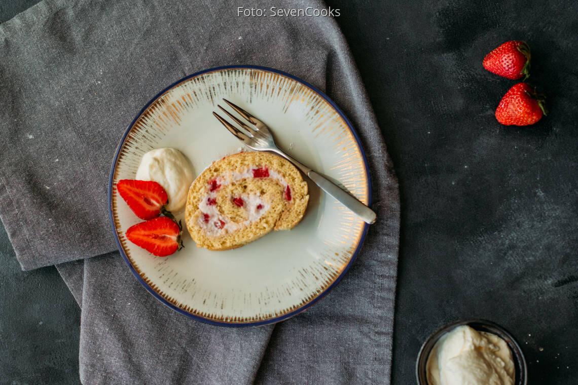 Vegetarisches Rezept: Erdbeerroulade