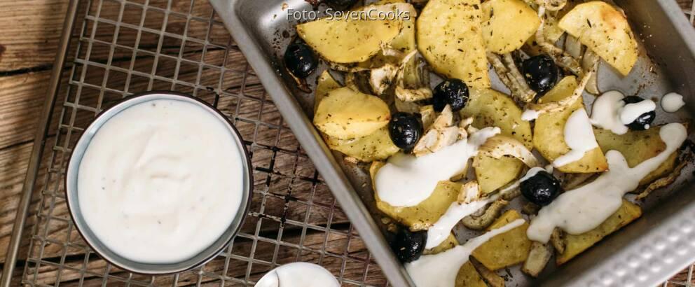 Vegetarisches Rezept: Fenchel-Kartoffeln-Oliven aus dem Ofen mit Zitronendip_2