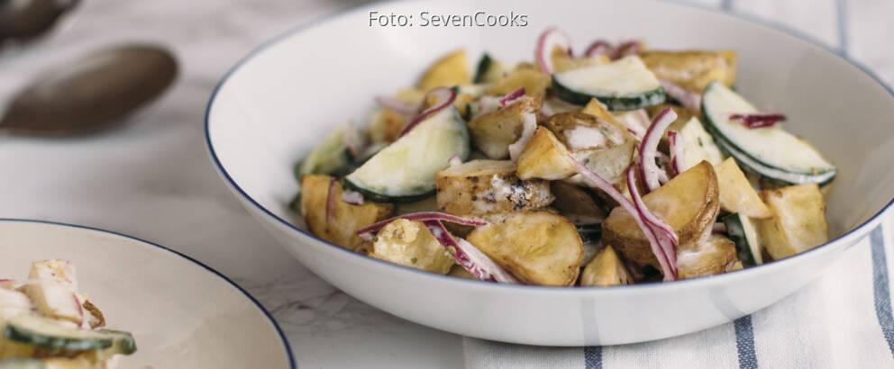 Vegetarisches Rezept: Gebackener Kartoffelsalat mit Joghurtdressing 3