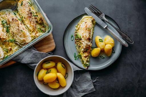 Vegetarisches Rezept: Gebackener Spitzkohl mit Salzkartoffeln 1