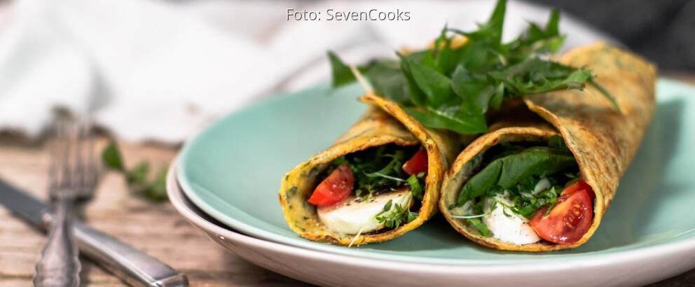 Vegetarisches Rezept: Gefüllte herzhafte Pfannkuchen mit Löwenzahn 1