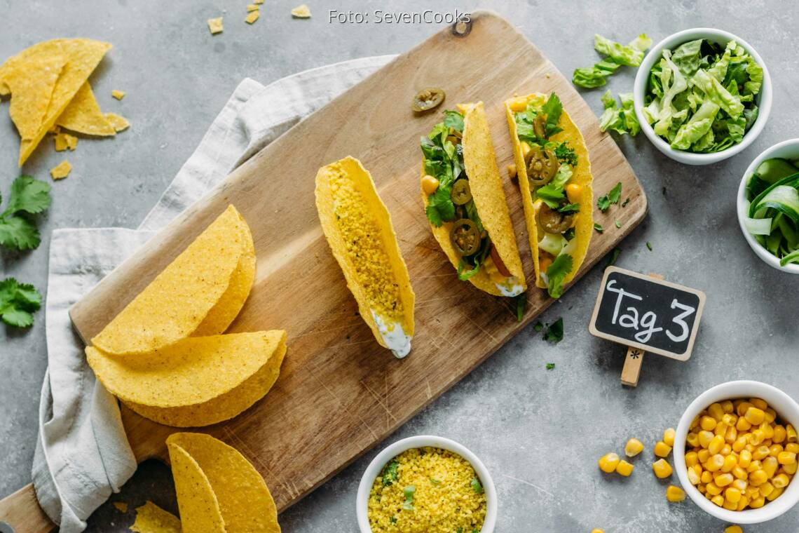 Vegetarisches Rezept: Golden Meal-Prep 3: Couscous Tacos_1_Schild